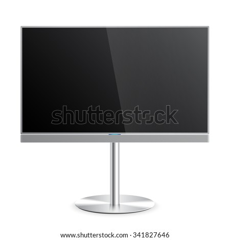 Flat Smart TV Mockup with blank screen on the Floor Stand, soundbar, lcd realistic vector