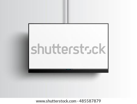 Flat Smart TV Mockup with blank white screen hanging on the tube, soundbar, lcd realistic vector illustration