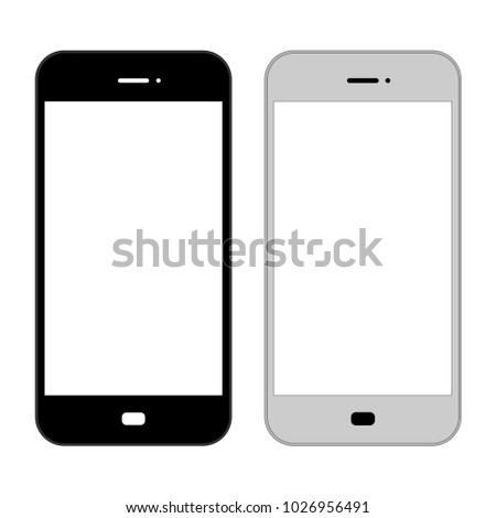 Flat, smartphone illustration. Black and grey version. Isolated on white