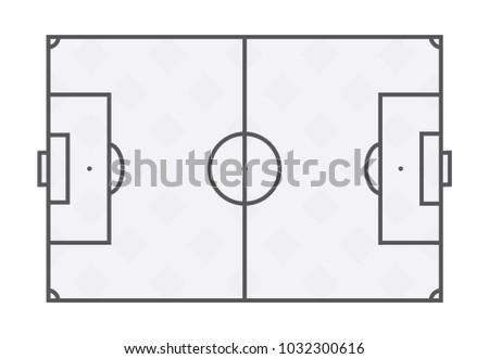 flat soccer field line template football grass stadium on white