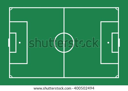 Flat soccer green field, football grass. Vector stadium. Soccer with line template.