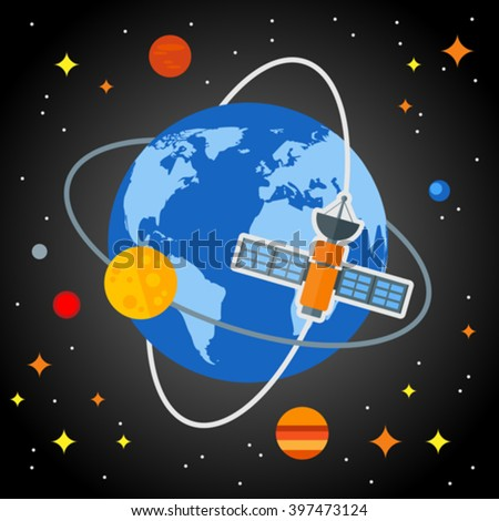 Flat space background with the earth and satellites. Eps 10. Elements of this image furnished by NASA