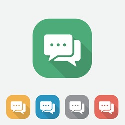 Flat Speech Bubble icons with long shadow, Chatting or messaging bubbles with dots flat icon apps and websites