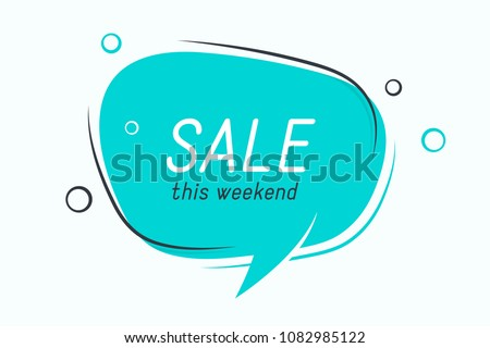 Flat speech bubble shaped banner, price tag, sticker, badge. Vector illustration