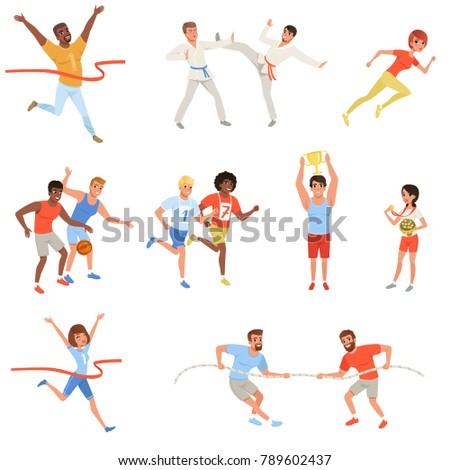 flat sports people taking part