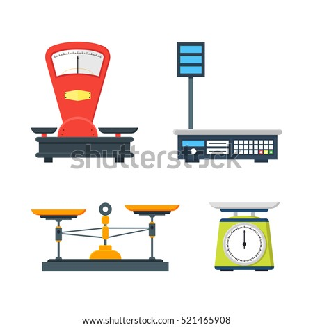 Flat store weigher. Collection of electronic and mechanical scales for shop. Business sale objects. Measurement of grocery products. Isolated on white vector illustration.