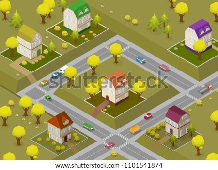flat street and houses