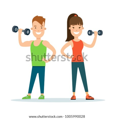Flat style Athlete stranding workout characters vector illustration. Fitness young man woman doing exercise with dumbbells. Individual sports concept