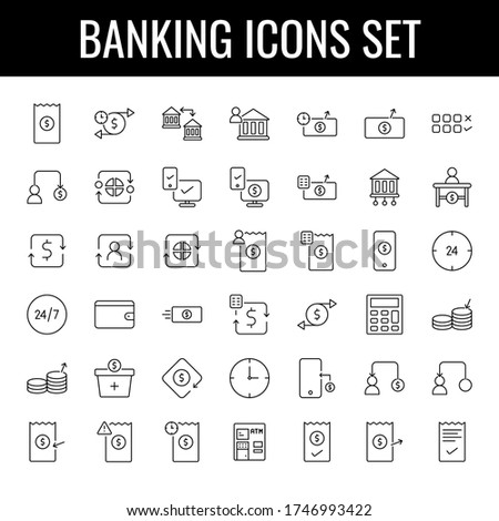 Flat style Banking Icon Set in Black line art.