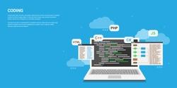 flat style banner design, coding, programming, application development concept