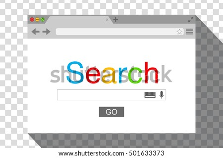 Flat style browser window on transparent background. Search engine. Vector stock illustration