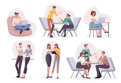 Flat style business people characters in workplace. Male and female persons in office room. Businessmen and businesswomen at work place.