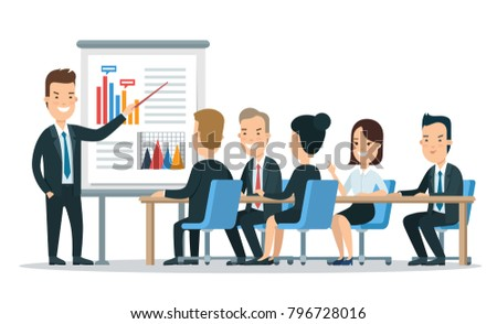 Flat style business people characters in workplace vector icon set collection. Male and female persons in presentation meeting room. Businessmen and businesswomen at work place