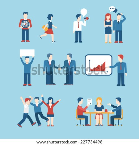Flat style business people figures icons Web template vector icon set Lifestyle situations icons Marketing target chat message talk banner in hands handshake party report presentation