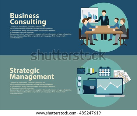 Flat style business success strategy management concept and Business Consulting.  Web banners templates set