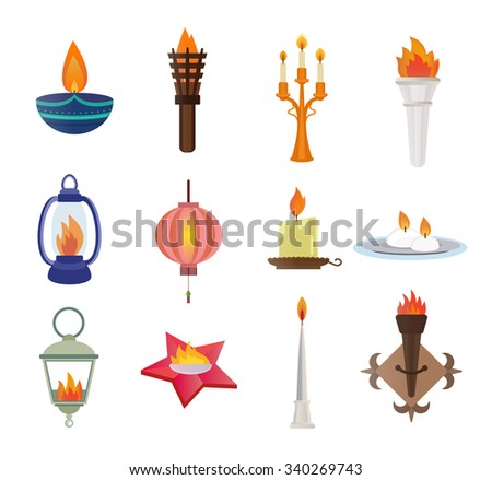 flat style candles and flames