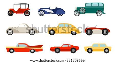 flat style classic cars set