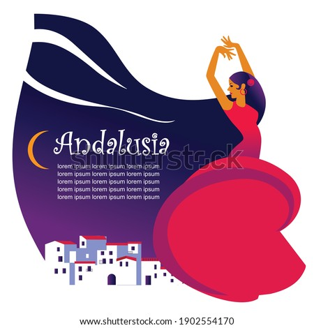 flat style color collage of Andalusia, flamenco dancing woman ,medieval traditional andalusian town. Vector illustration for poster, banner, background, festival, party and event Stock fotó ©