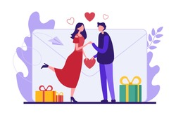 Flat style colorful vector illustration of cartoon characters of affectionate couple with gift boxes having romantic date during Valentine day celebration against mail envelope image