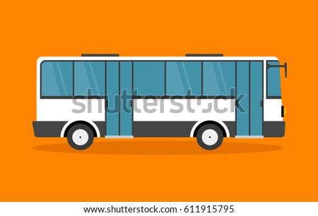 Flat style concept of public transport. Bus side view. Isolated vector illustration. Bus vector icon