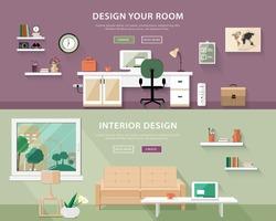 Flat style concept set of interior design room types. Web banner vector illustration