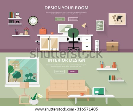 Flat Style Concept Set Of Interior Design Room Types Web Banner Vector Illustration