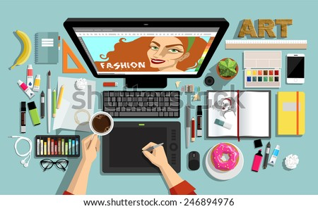 Flat Style  Creative Designers Workspace. Icons Collection of Work Flow Items and Elements, Stationery and Drawing Tools, Pen, Paintbrushes, Pencils, Marker and Highlighter,  Objects and Equipment .