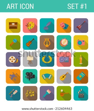 Flat style design long shadow art vector icon set. Piano, palette, feather, guitars, camera, tape, clapper, candle, microphone, pencils, movie, music, blot, pipe. Flat web and app icons collection.
