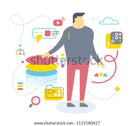 Flat style design of office worker for web, site, banner, presentation. Vector color illustration of standing business man with icon on white background