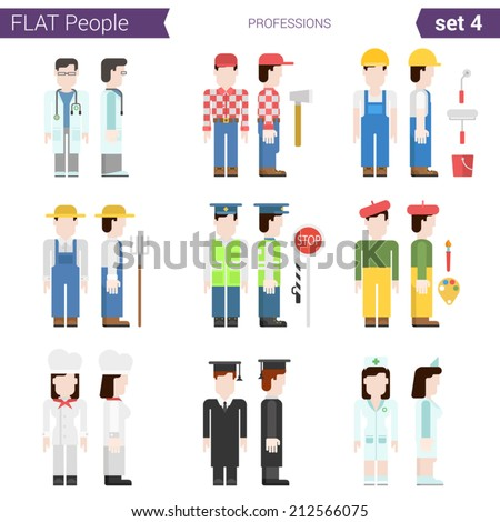 Flat style design professional people vector character avatar set. Professions doctor, miner, carpenter, farmer, road police, traffic, painter, graduate, cook, plumber. Flat people collection.