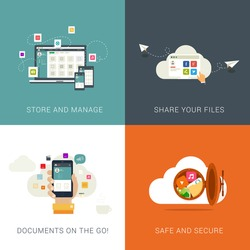Flat Style Designs concepts for Cloud Services and File Management.