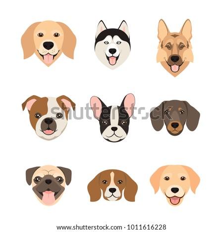 flat style dog head icons....