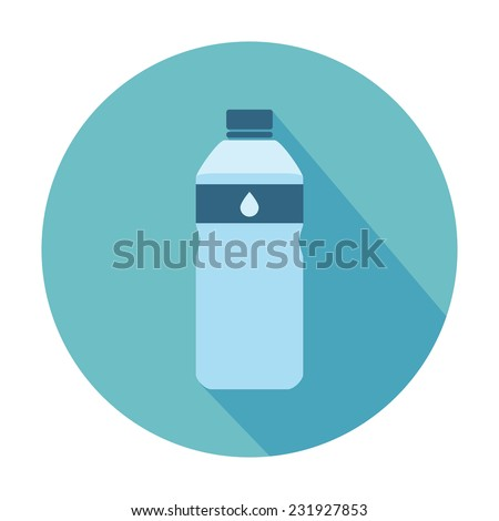 Flat Style Icon with Long Shadow. A bottle of water. Concept for education, training courses, self-development and how-to articles
