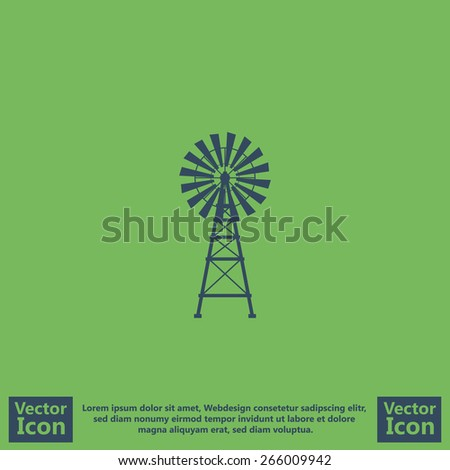 flat style icon with windmill
