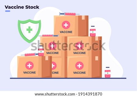 Flat style illustration Covid-19 Coronavirus vaccine stock, Covid-19 Vaccine Ready to delivery or distribute to all world, Coronavirus Vaccine Safe, Vaccine Storage Room, Stock Room Medicine