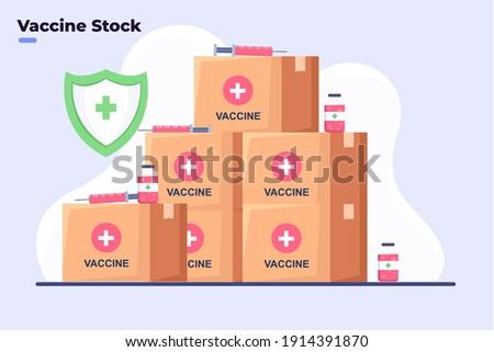 Flat style illustration Covid-19 Coronavirus vaccine stock, Covid-19 Vaccine Ready to delivery or distribute to all world, Coronavirus Vaccine Safe, Vaccine Storage Room, Stock Room Medicine