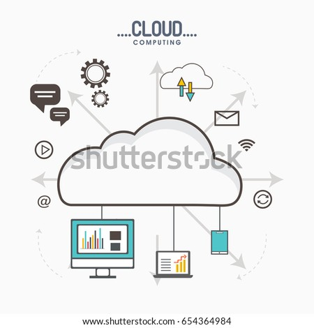 Flat style illustration for Cloud Computing process with various infographic elements for Business concept.