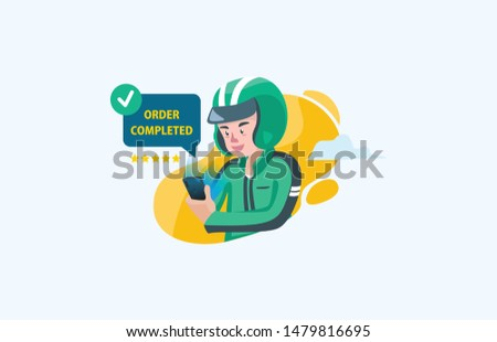 Flat style illustration of delivery man driver icon and biker completed order and successful task by costumer for ordering food service for landing page and website