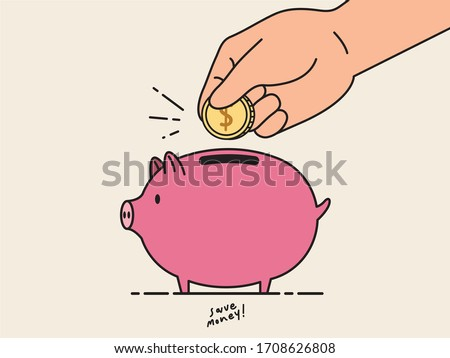 Flat style illustration of piggy bank for saving money. Concept of kid saving money. Cartoon character vector for children to learning about saving money.