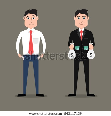 flat style illustration of rich