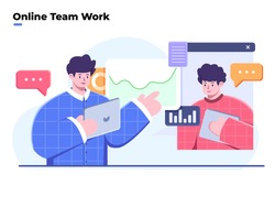 Flat style illustration of team work and business analyze, video conference and online meeting, work from home, virtual business collaboration or team work, team discussing ideas with video call.