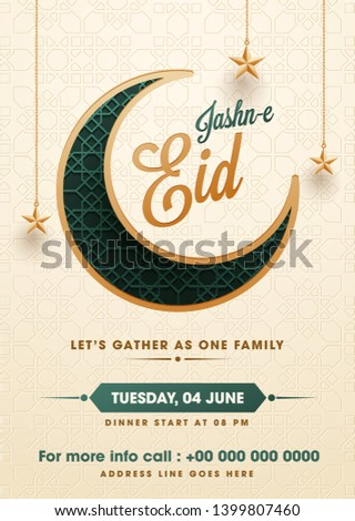 Flat style Jasne Eid party invitation card design with illustration of crescent moon and hanging star on islamic pattern background. Zdjęcia stock ©