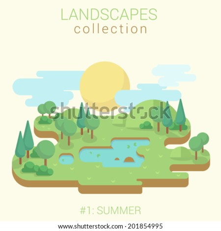 Flat style land scenic sunny summer green meadow lake pond in forest vector template. Landscapes vector illustration collection.