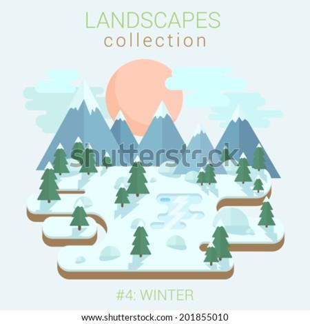 flat style land scenic winter