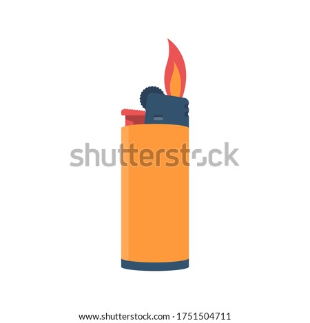 Flat style lighter isolated on a white background. Fire from a lighter. Cartoon icon. Vector illustration flat design. Graphic template for web design and print. ストックフォト ©