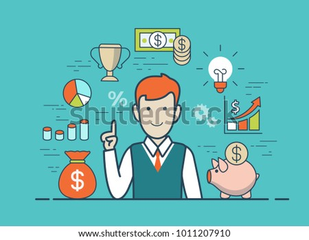 Flat style linear young man Idea Eureka website infographics vector illustration concept. Male hand up forefinger with web icons: lam bulb, money box pig, diagram graph chart, cup, piggy bank