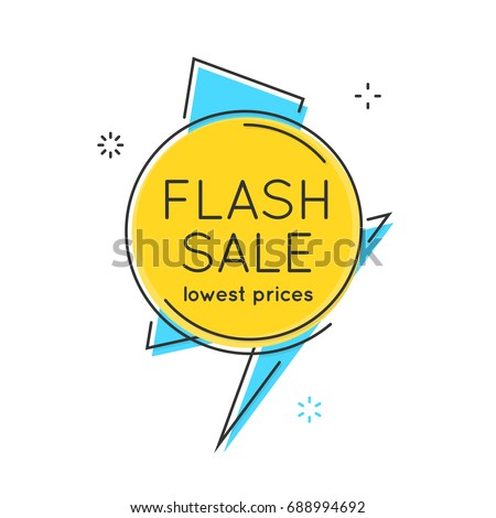 Flat style minimal trendy bubble shaped banner, price tag, flash sale; sticker, badge. Vector illustration.