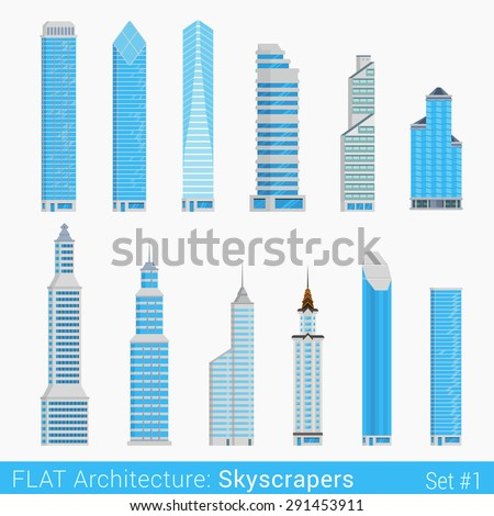 Flat style modern buildings skyscrapers set. City design elements. Stylish design architecture collection.