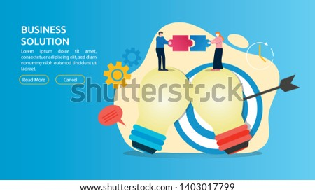 Flat style modern business solution concept. Conceptual web illustration businessman and businesswoman characters connecting puzzle pieces above bulb with catchy color.