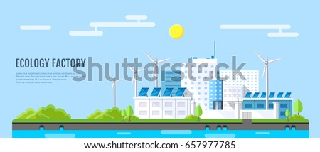 Flat style modern design of ecology factory landscape